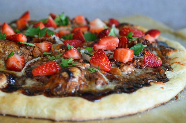 Out of the ordinary pizza, Balsamic Strawberry Pizza with Chicken, Sweet Onion and Applewood Smoked Bacon