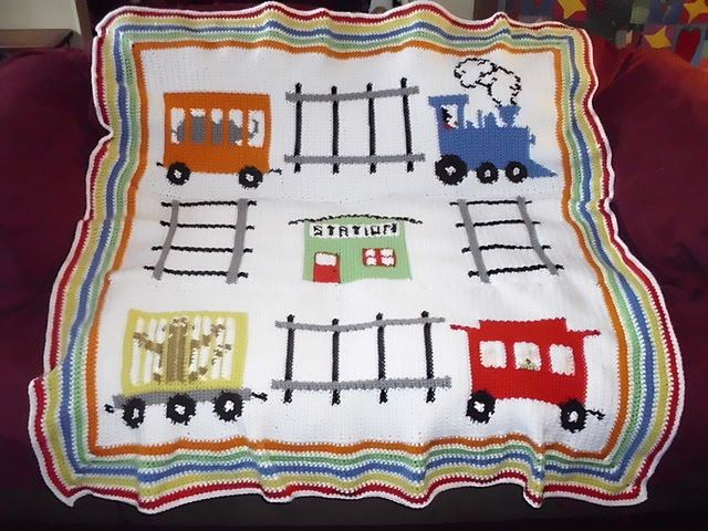 Train Knitting Pattern : crochet train afghan patterns free BABY BOY CROCHET TRAIN BLANKET Crochet...