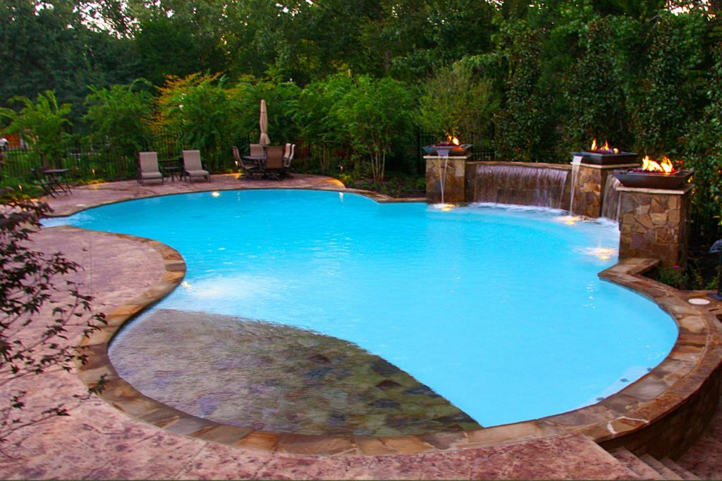 peaceful freeform pool and waterfall with tanning ledge by ... |Small Freeform Pools With Waterfalls