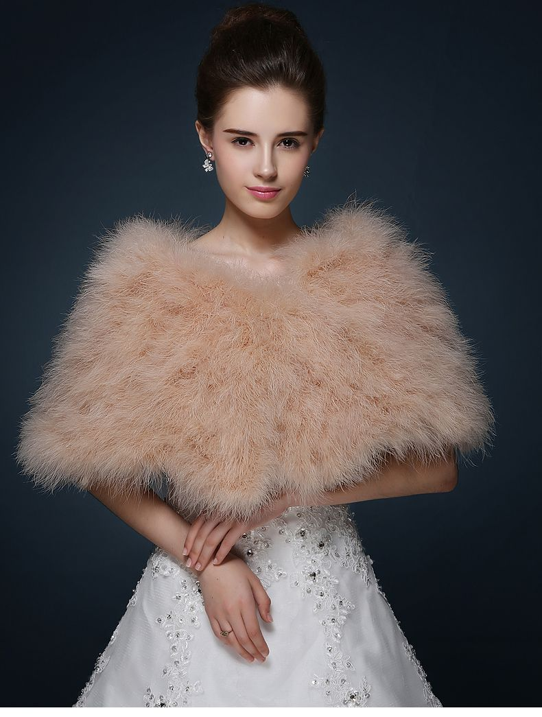 White Feather Bridal Jacket Wedding Shawls And Wraps Free Shipping Champagne Cape