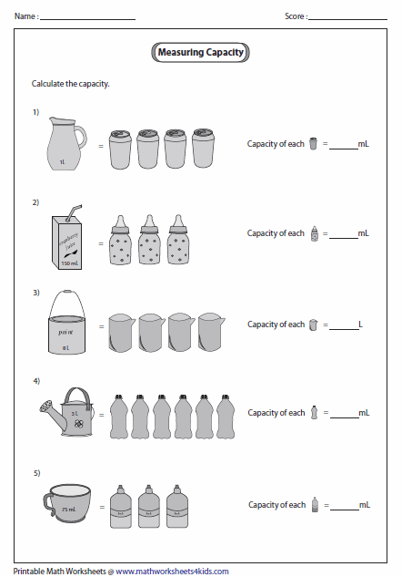 Capacity of Smaller Object Metric Units Math Capacity