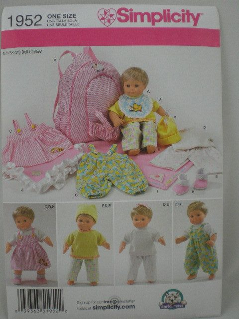 Simplicity 1952 Pattern For 15 Doll Clothes Carrier Blanket Bitty Baby Baby Doll Clothes Baby Doll Clothes Patterns Bitty Baby Clothes