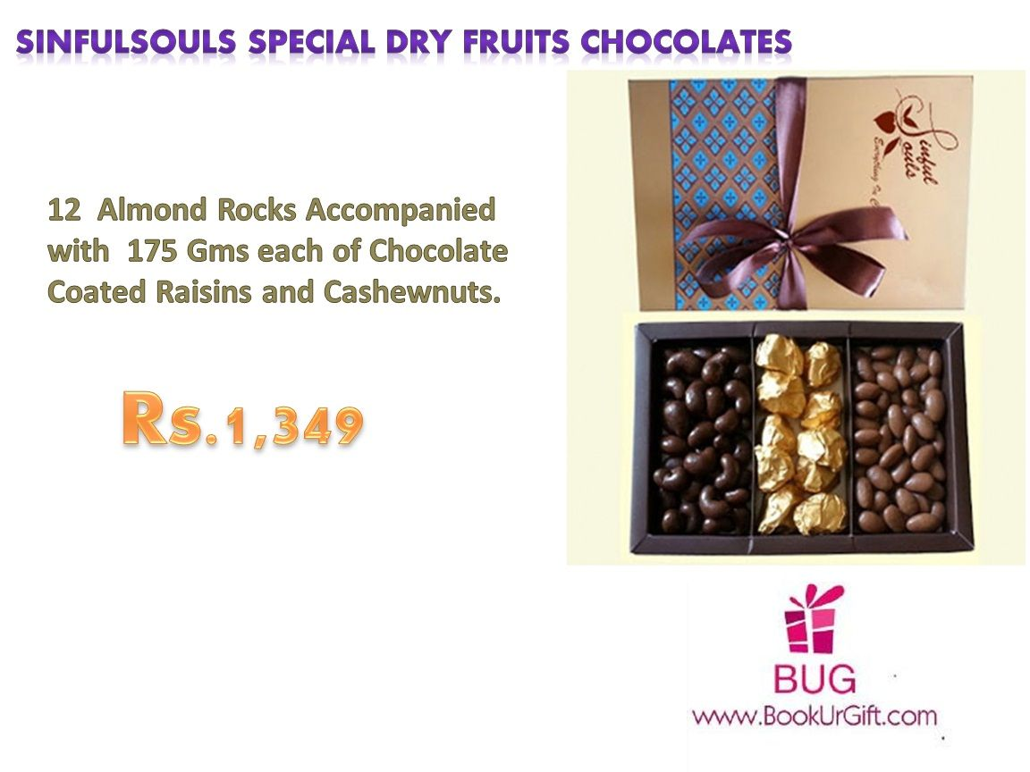 Every occasion made sweeter and irresistible with chocolates! Order Now:-  http://bookurgift.com/1619-sinfulsouls-special-dry-fruits-chocolates