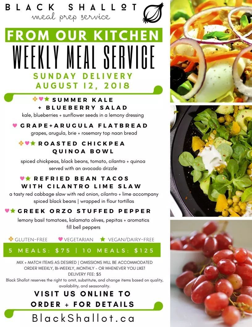 Plant Based Meal Delivery Service Menu For August 12 Delivery Hello Blackshallot Ca To Order Healthy Prepared Meals Plant Based Diet Meals Healthy Meal Kits