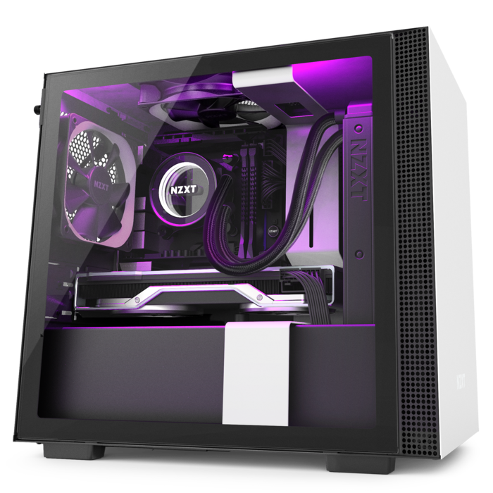 H210i Matte White Nzxt Smart Device Tempered Glass Cable Management System