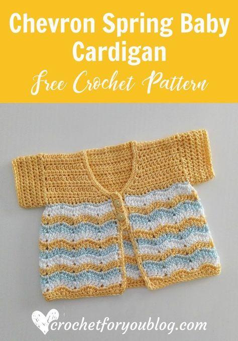 Crochet Chevron Spring Baby Cardigan Free Pattern #crochetbabycardigan