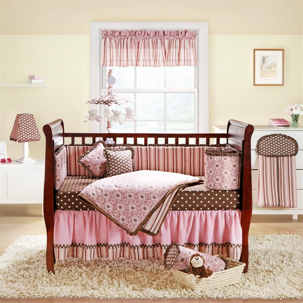 Attractive Wonderful Girl Baby Nursery Room Design With Rectangular Walnut Baby Box  Including Pink Girl Decor Inspiration