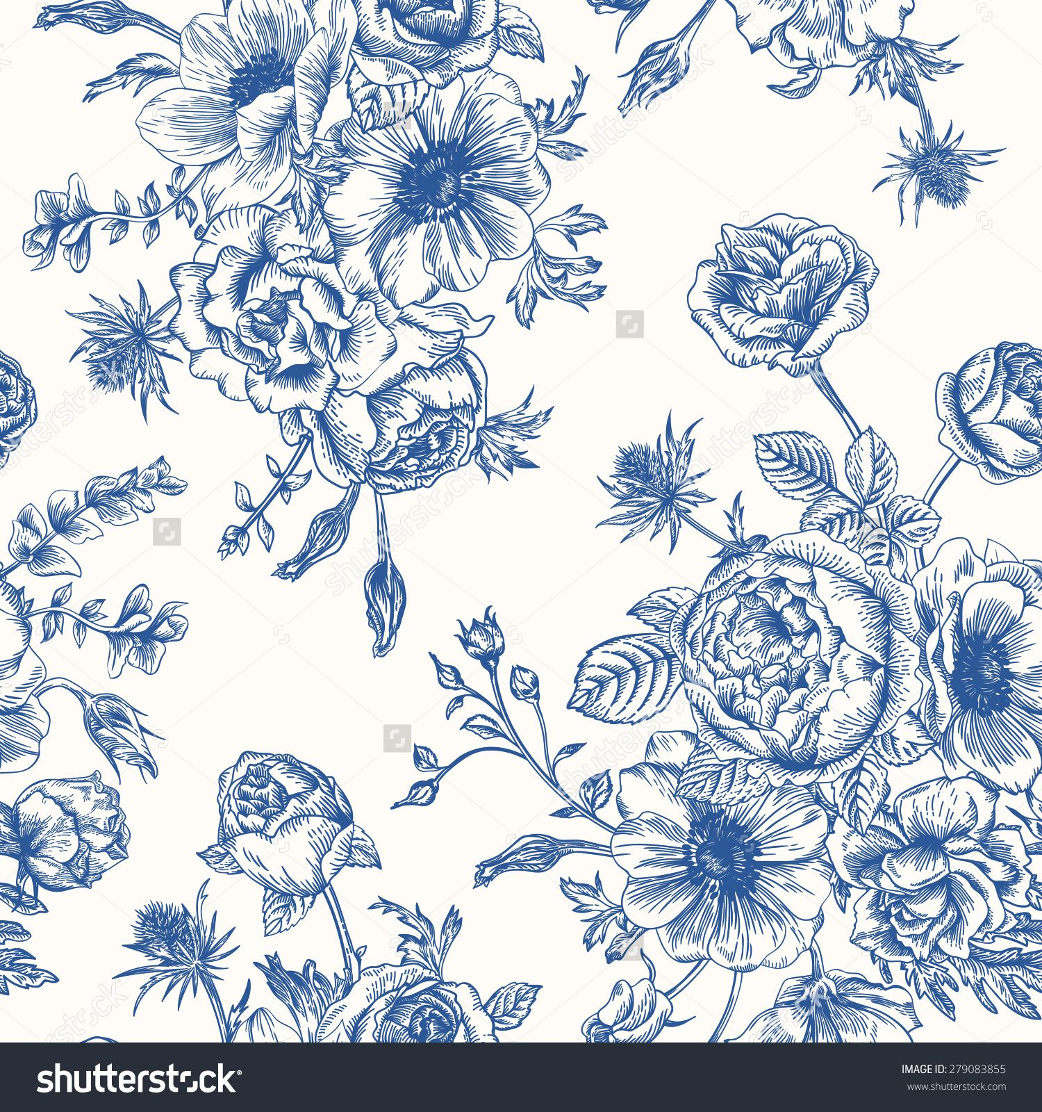 Seamless Floral Pattern With Bouquet Of Blue Flowers On A White