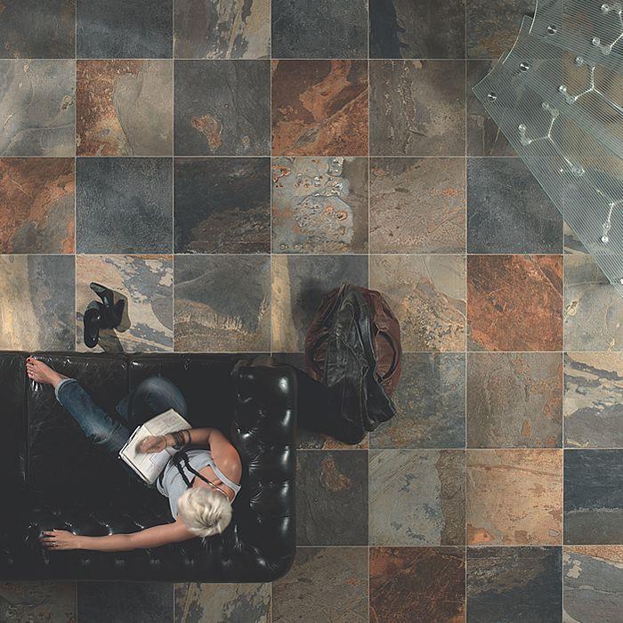 Realistic Multi Colour Slate Effect Floor Tiles Outdoor Tiles
