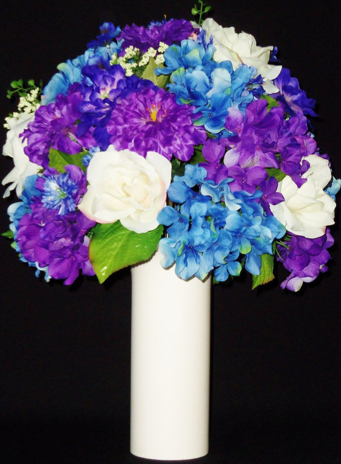 Reserved For Maria White Roses Blue Purple Hydrangea Purple