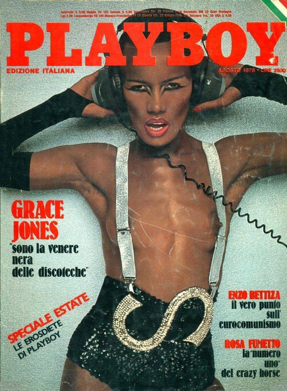 Grace Jones dans Playboy Italia (1978). Grace Jones , muse d'Andy Warhol & de Jean-Paul Goude, est l'une des grandes figures des années 70 et 80...
