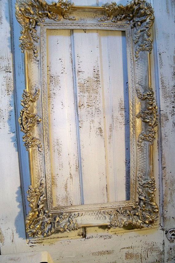 Large Vintage Frame Hand Painted Ornate French By Anitasperodesign