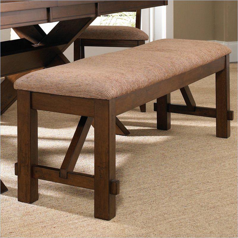 Powell Furniture Kraven Dining Bench in Dark Hazelnut - 713-260