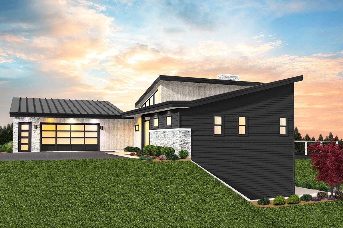 Plan 85325ms 3 Bed Modern House Plan For The Rear Sloping Lot Sloping Lot House Plan Ranch House Exterior Modern House Plan