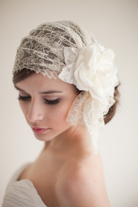 Chantilly Lace Bridal Cap Juliet Cap Lace by MelindaRoseDesign, Etsy