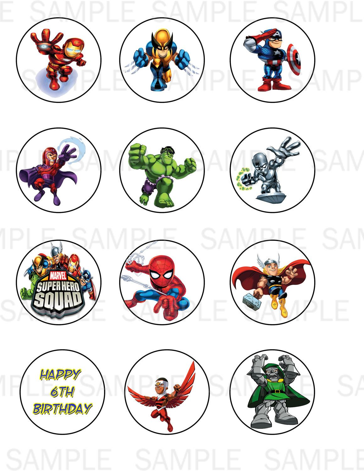 Printable Super Hero Squad Cupcake Toppers