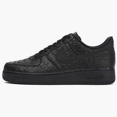 Nike Air Force 1 07 LV8 Mens 718152-007 Black Crocodile Shoes Sneakers Size  10.5 40b736c55535
