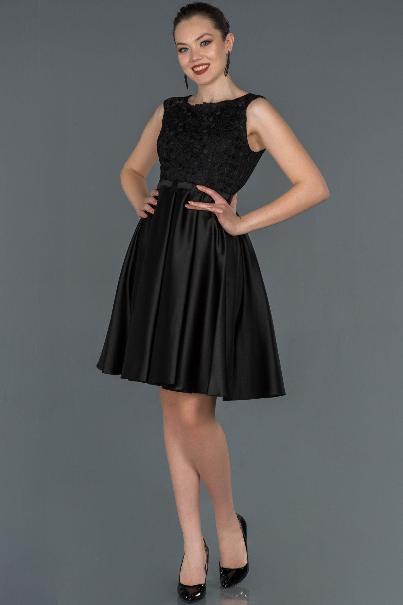 Siyah Kisa Gupur Detayli Saten Abiye Elbise Abk750 2020 The Dress Elbise Moda Stilleri