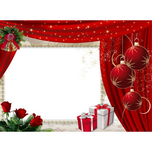 Christmas Frame with red drape ❤ liked on Polyvore featuring