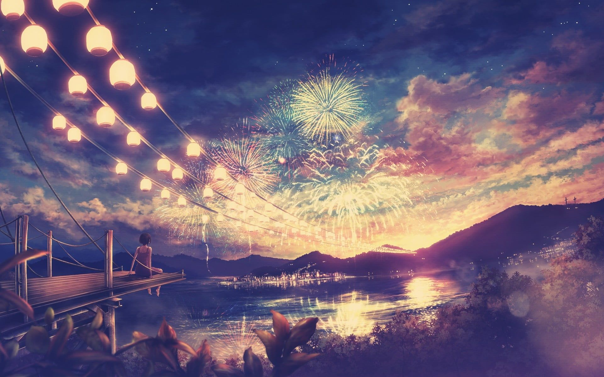 fireworks anime girls anime 1080P wallpaper