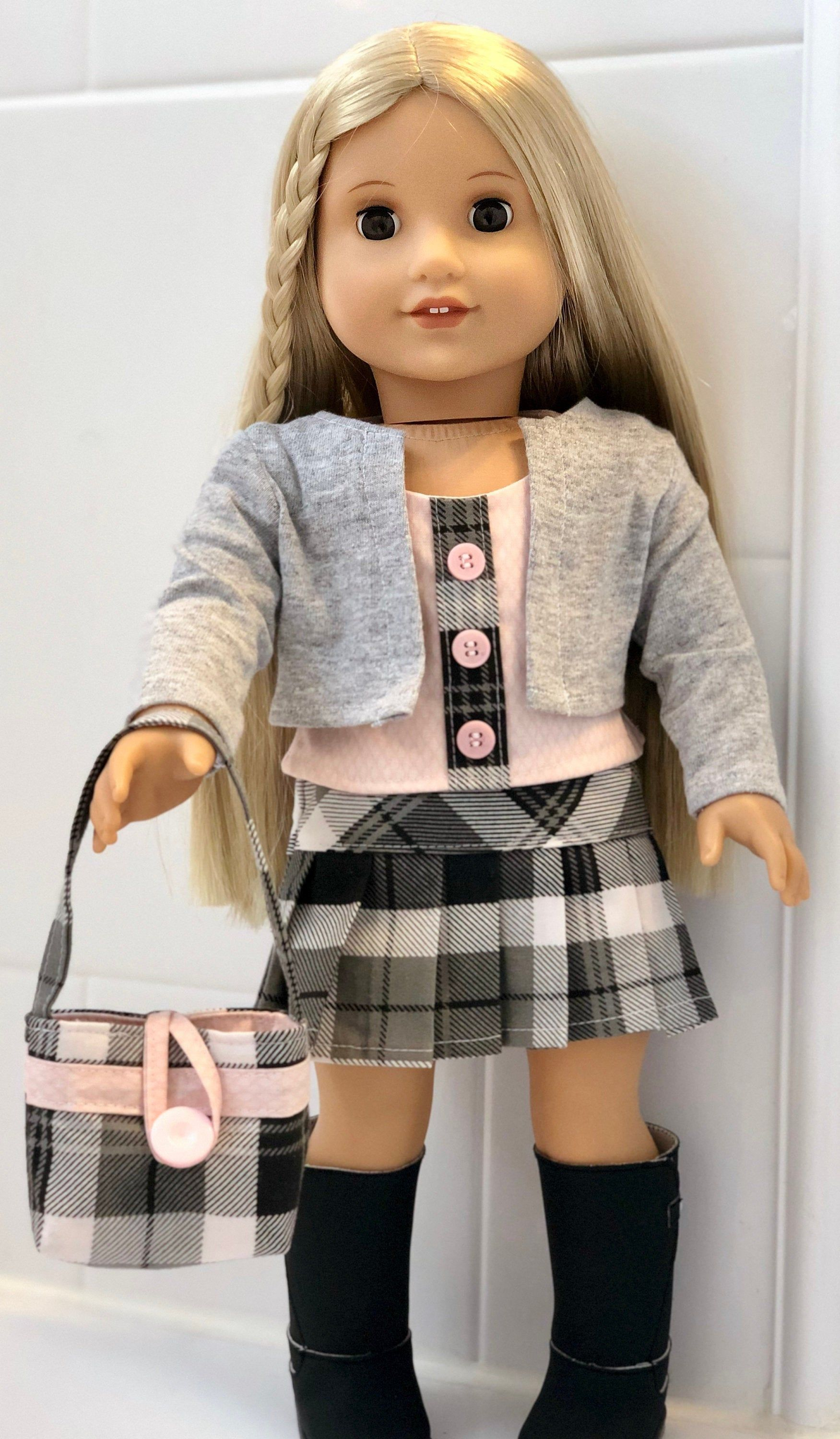 Sweet School Skirt, Top, Cardigan, and Purse! Soft Pink and Plaid with Pleats for 18 Dolls Such as American Girl #dollies