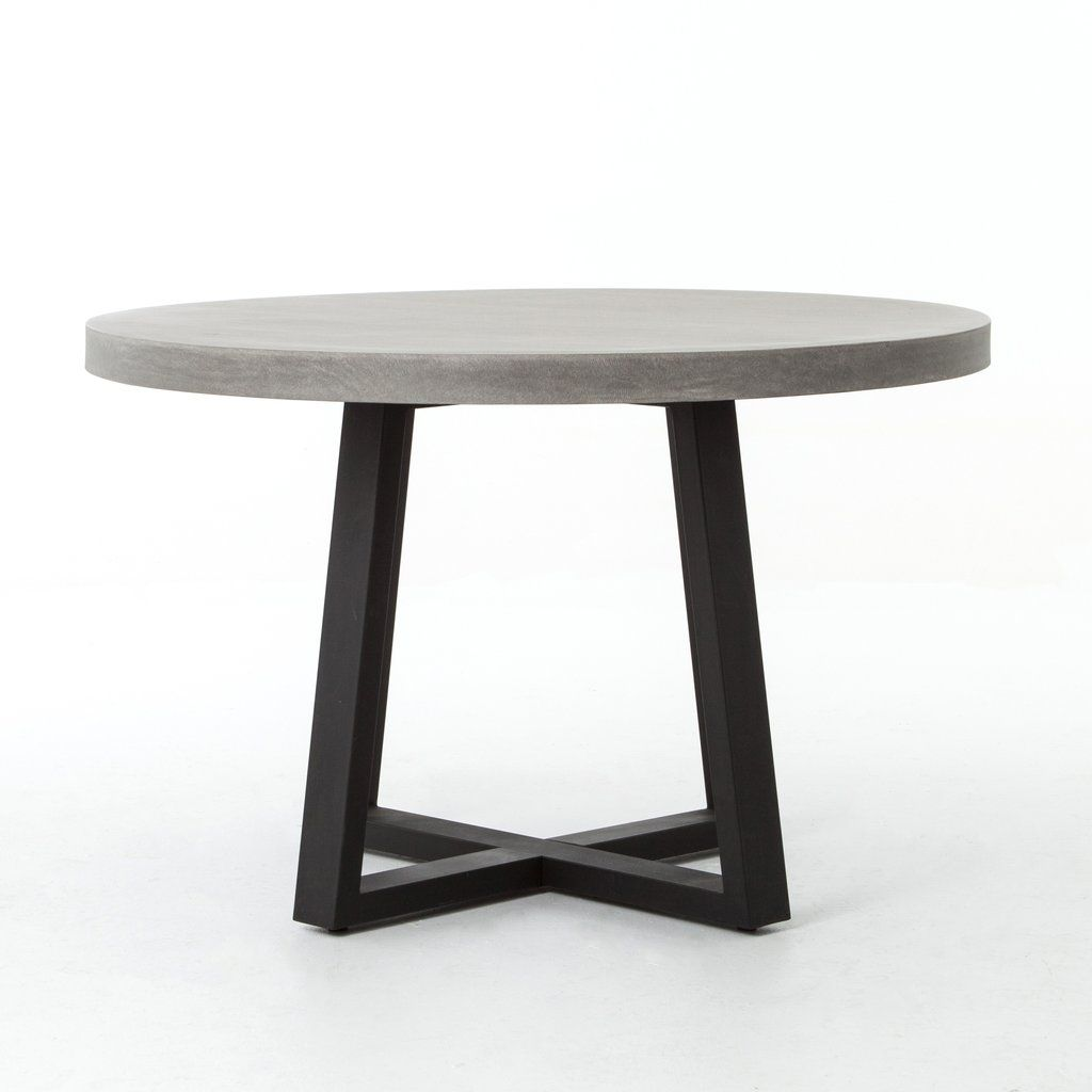Large Cyrus Round Dining Table In Black Light Grey 48 Round