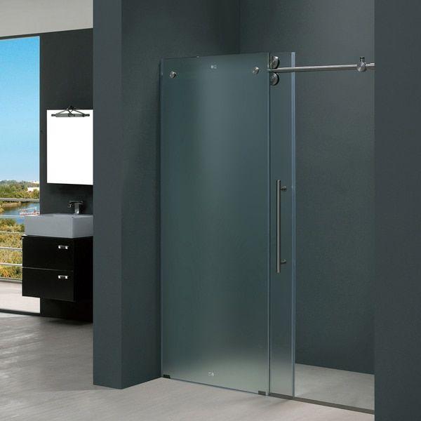 Vigo 60 Inch Frameless Frosted Glass Sliding Shower Door Overstock