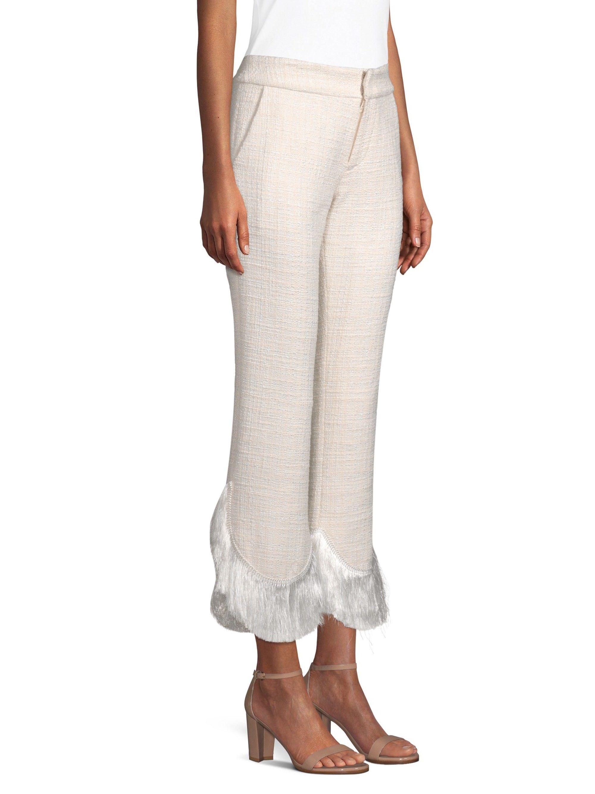 Alexis Tatum Crop Flare Fringe Pants Ivory Medium Fringe Pants