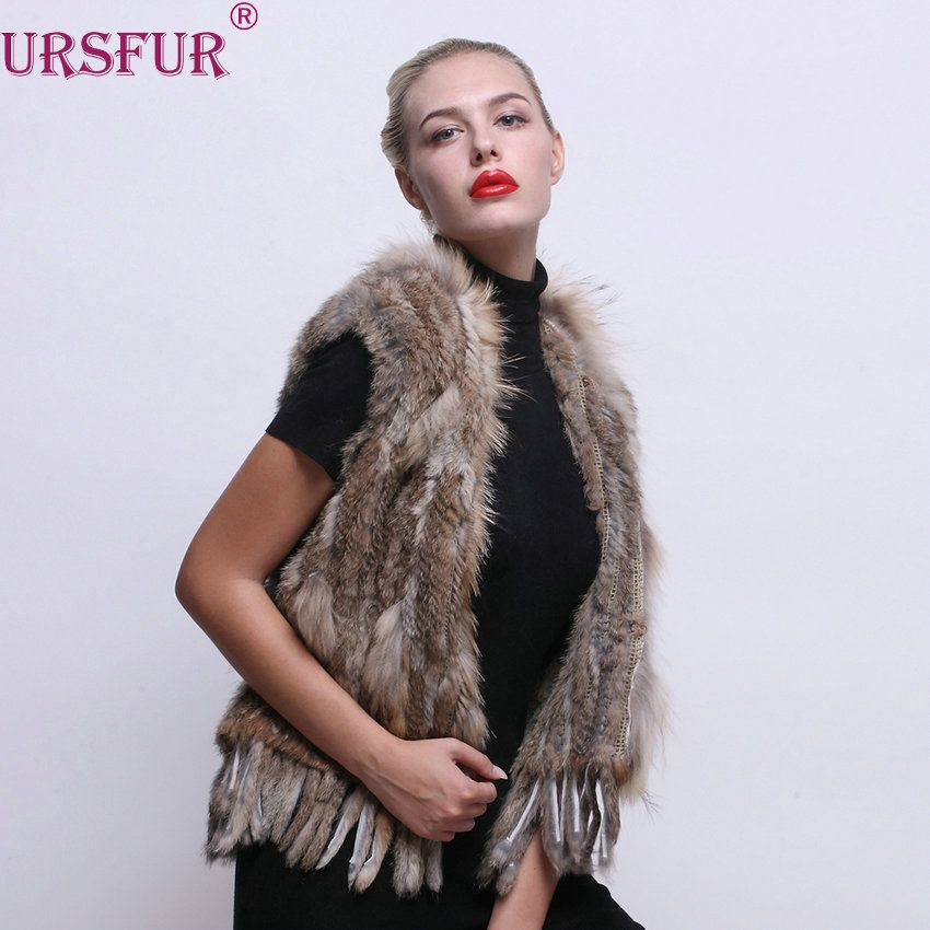 >> Click to Buy << URSFUR Women Winter Real Rabbit Fur Tassel Vest with Raccoon Trim Multicolor Winter Fur Jacket eastern fur #Affiliate