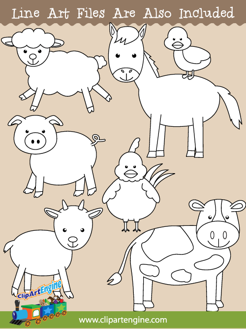 Black And White Line Art Files Are Also Included As Part Of This Collection Of Farm Animals Clip Art Clip Art Animal Clipart Farm Animals