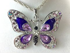 Purple Butterfly Feng Shui Pendant Necklace #purple #butterfly #fengshui #necklace #pendant