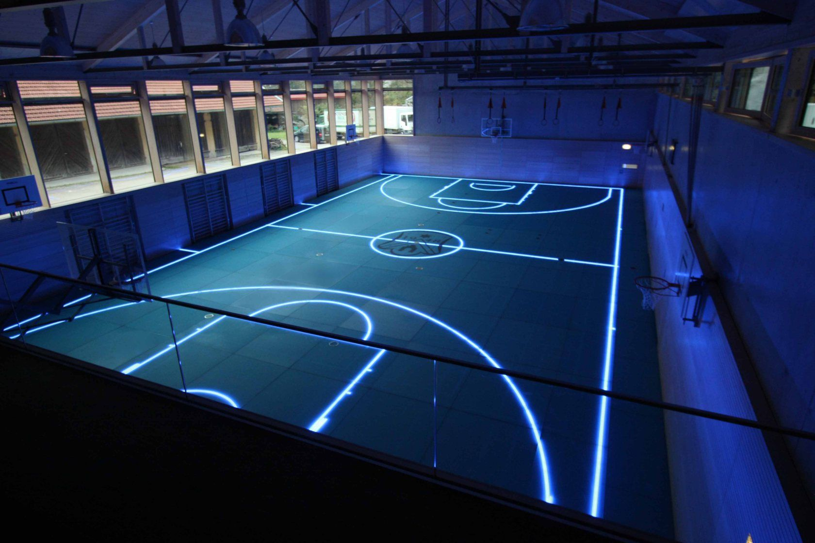 futuristic basketball court made in germany glass floor