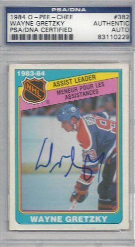 Wayne Gretzky Autographed 1984 O-Pee-Chee Card #382 PSA/DNA Slabbed #83110229 . $119.00. This is a 1984 O-Pee-Chee card that has been hand signed by Wayne Gretzky. It has been authenticated and slabbed by PSA/DNA.