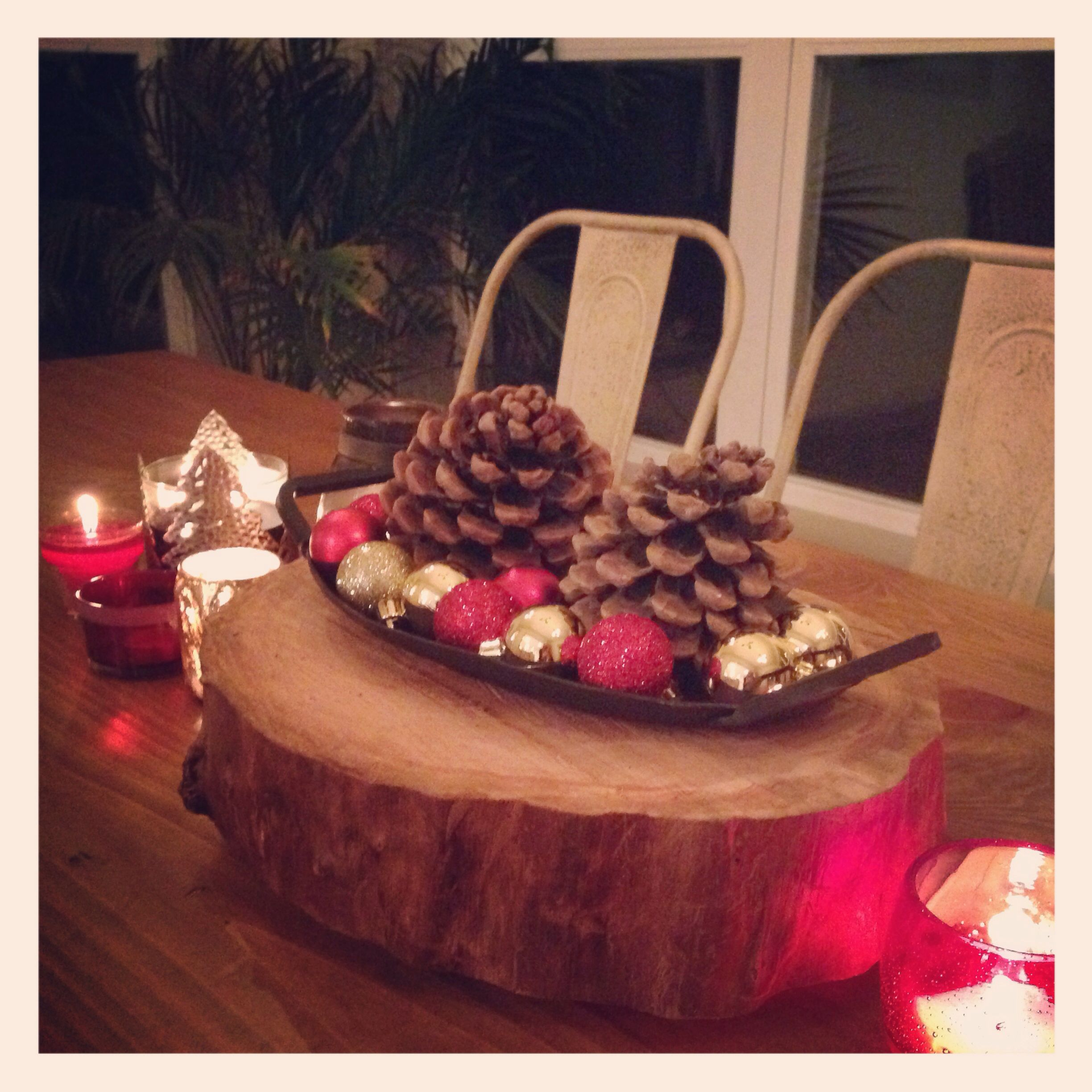 Log serving plate holiday centerpiece