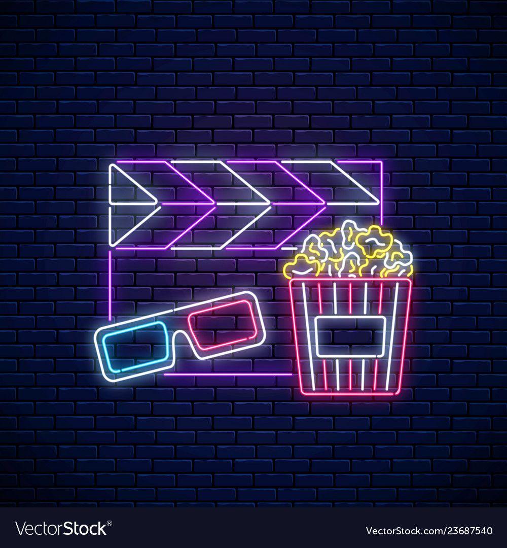 Neon Sign Of Cinema Night Cinema Time Neon Logo Vector Image On Vectorstock Wallpaper Iphone Neon Neon Signs Neon Logo
