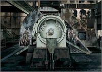 Die zweite Schöpfung. Alexander CALVELLI: Saugzug, Brikettfabrik Ville-Berrenrath, Hürth, 1996 Acryl auf Leinwand, 59 x 83