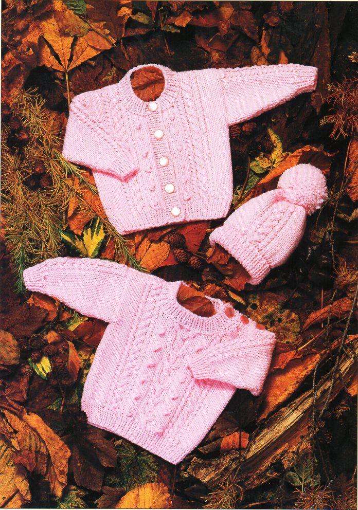 aran sweaters and cap  knitting pattern 99p