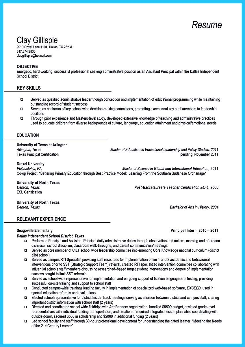 At the beginning part of assistant principal resume, you can write ...