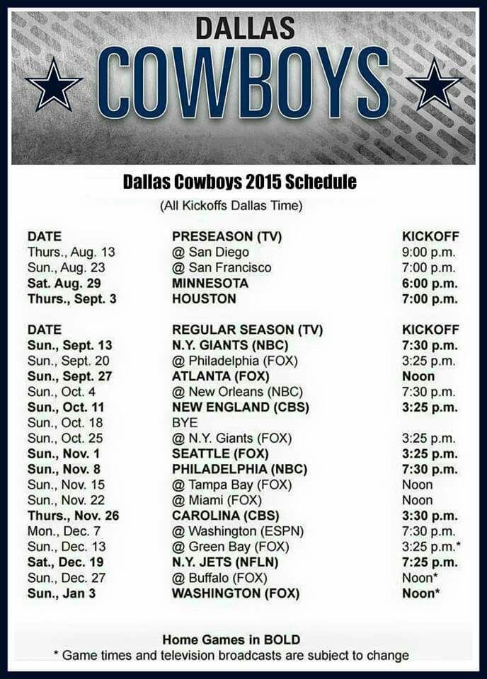 Schedule 2015 Dallas cowboys, Dallas cowboys fans, Nfl
