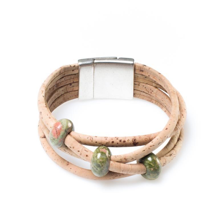 FREE SHIPPING vegan cork bracelet with magnetic clasp Portuguese Genuine double colorful cork handmade bracelet charm womens bracelet