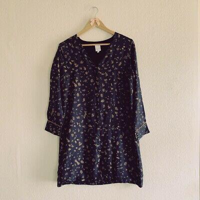 Print Stories By Soi 100% Silk Shirt Dress Sun Button Detail Small Size Iconic    eBay