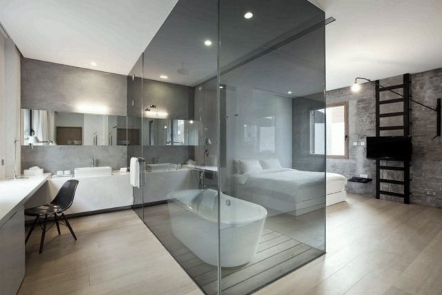 schlafzimmer bad einrichtungsideen sichtbeton wanne glasbox, Schlafzimmer entwurf