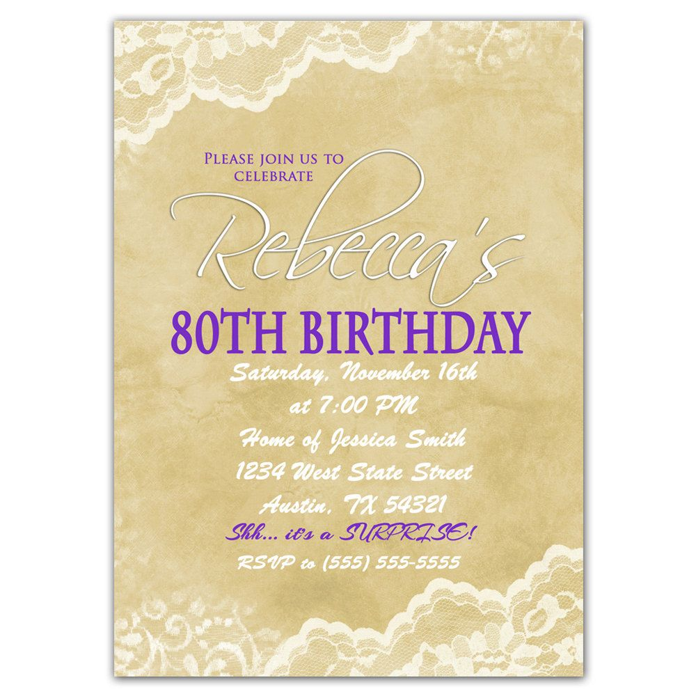 80th Birthday Invitation Surprise Party Invite Elegant