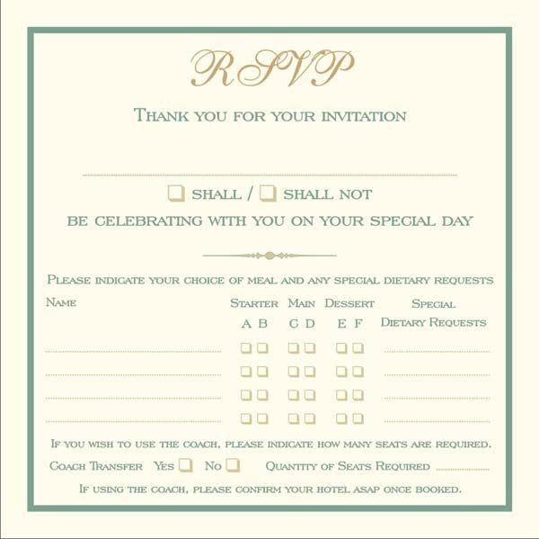 Brambles Wedding Stationery Rsvp Cards