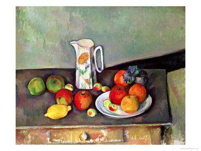 Still Life with Milkjug and Fruit, circa 1886-90 Giclée-tryk af Paul Cézanne