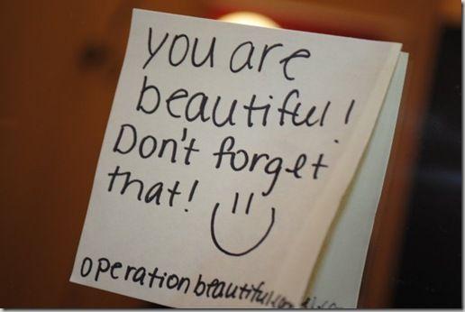Slashed Beauty   Operation Beautiful: Changing Self-Image w/ Post Its