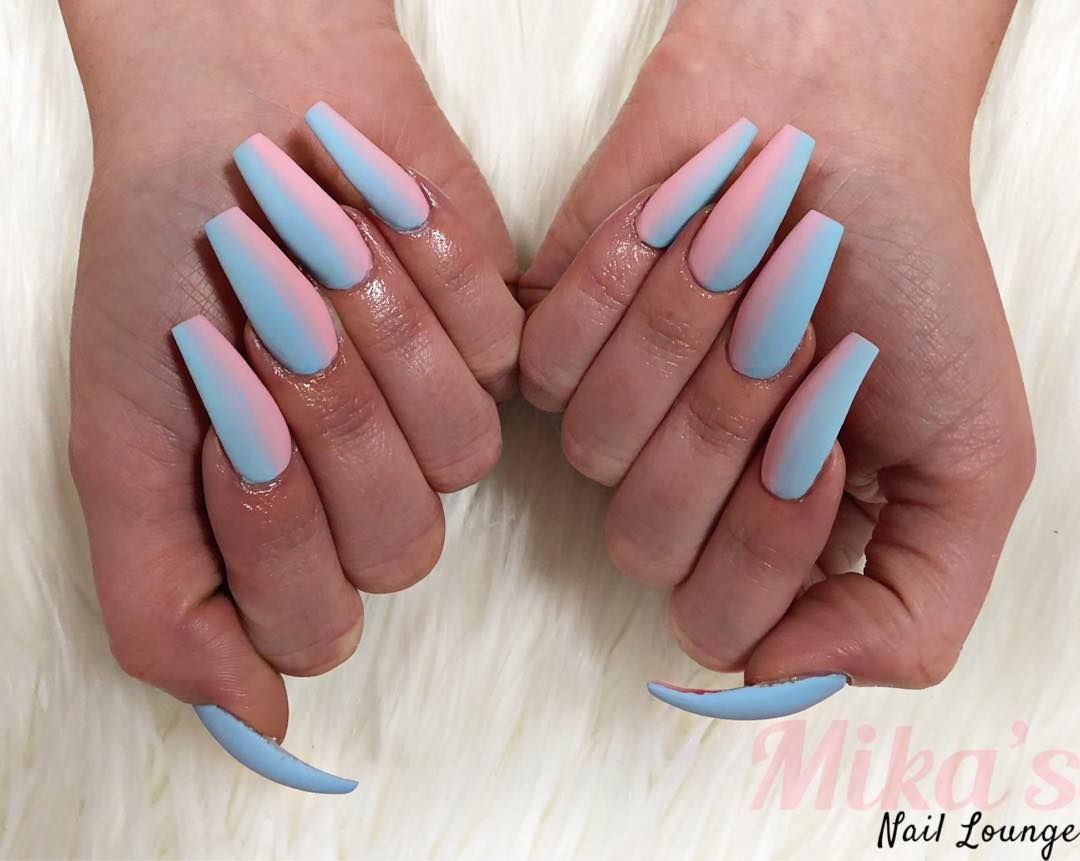 Mika S Nail Lounge On Instagram Cotton Candy Or Gender Reveal Gender Reveal Nails Baby Nails Long Acrylic Nails
