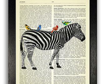 Zebra & exotische vogels Vintage woordenboek Art Print Zebra Wall ...