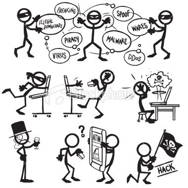 Stickfigure Thief Hacking Cracking And Stealing Information And With Images Stick Figures