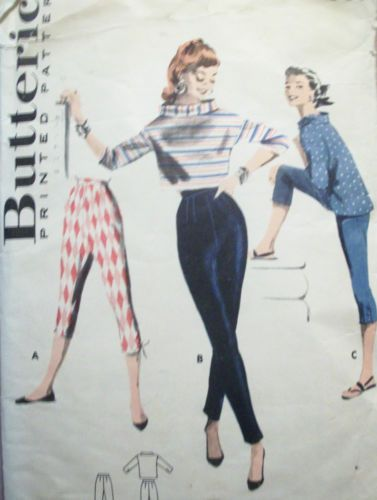 50s 60s Vintage Sewing Pattern High Waist Tight Pants Or